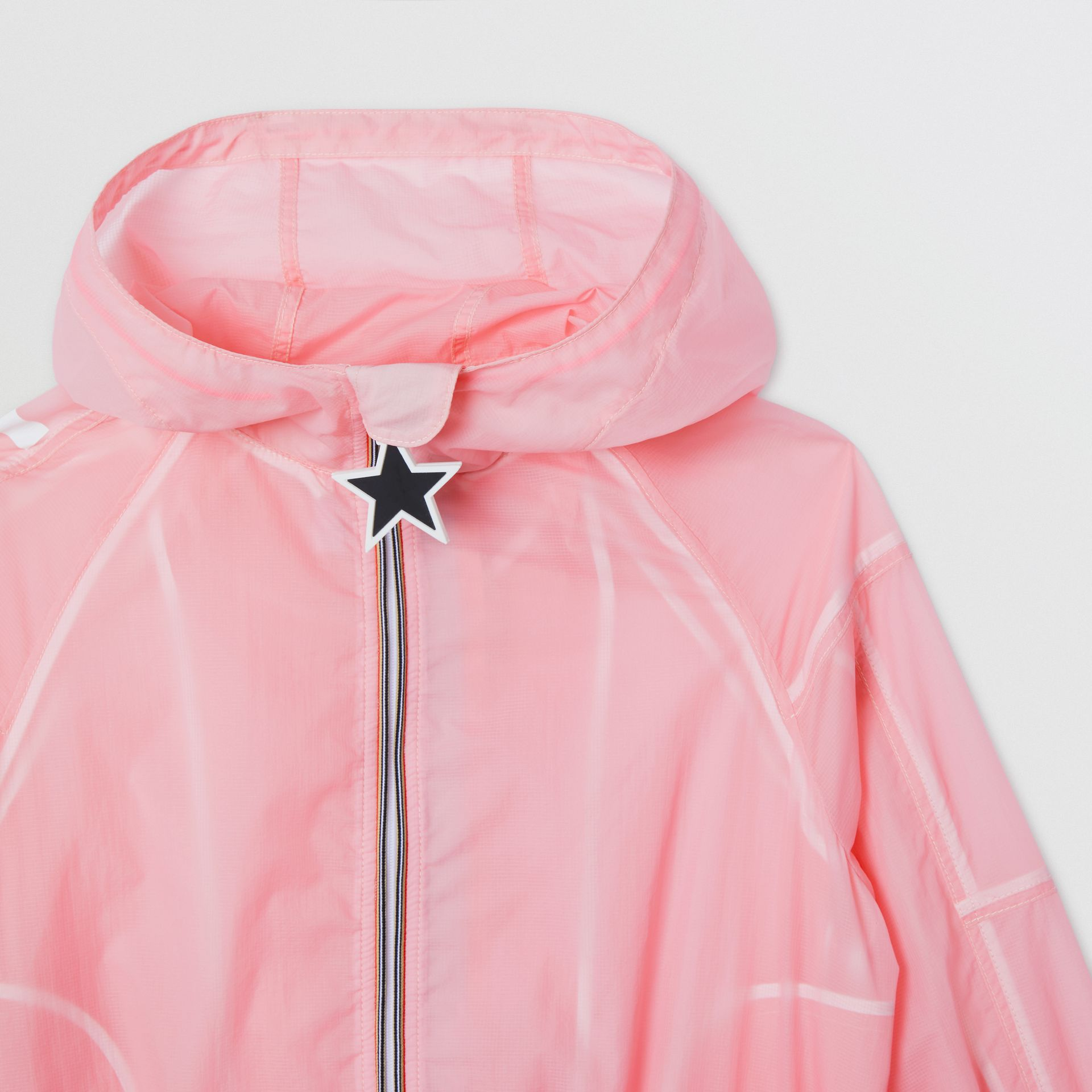 Star Detail Logo Print Lightweight Hooded Jacket in Candy Pink | Burberry - gallery image 4