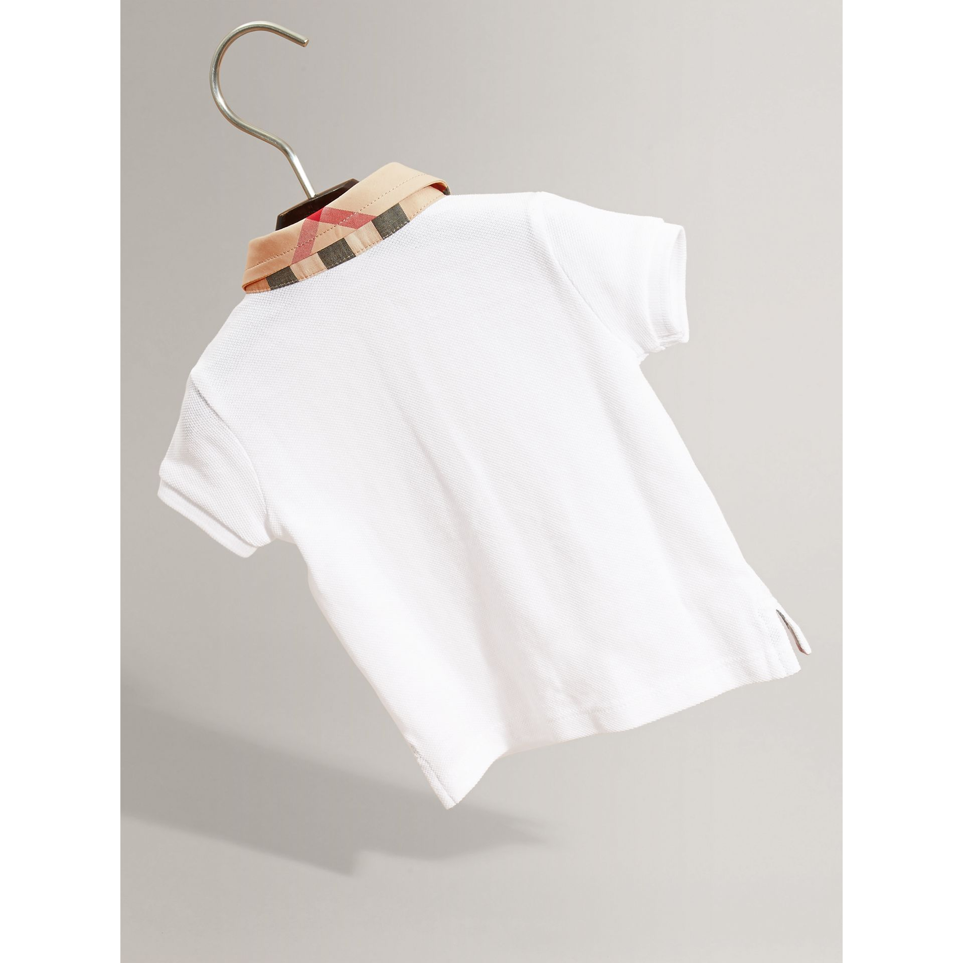 Check Collar Cotton Polo Shirt in White | Burberry - gallery image 2