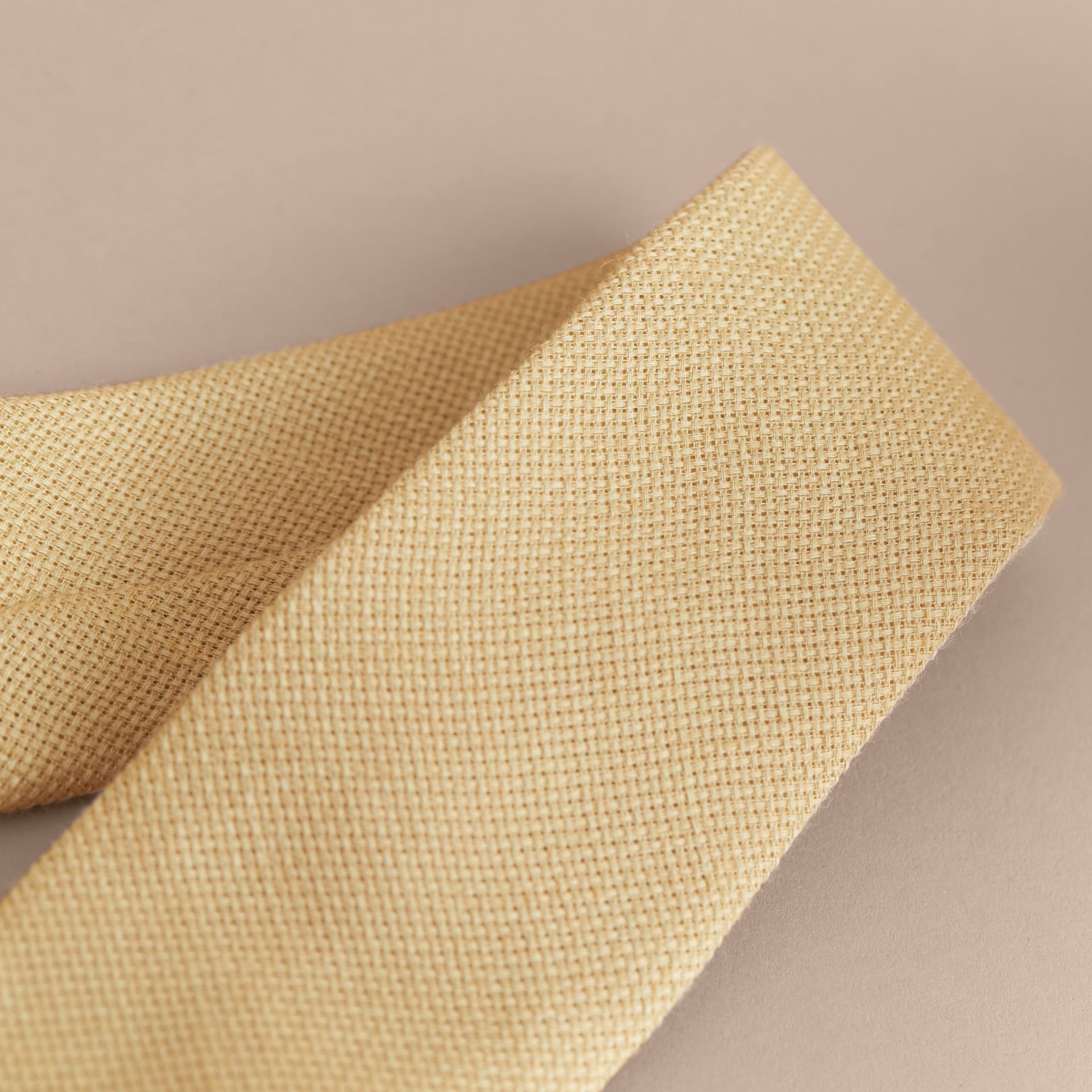 Modern Cut Linen Tie in Stone Yellow - Men | Burberry - gallery image 2