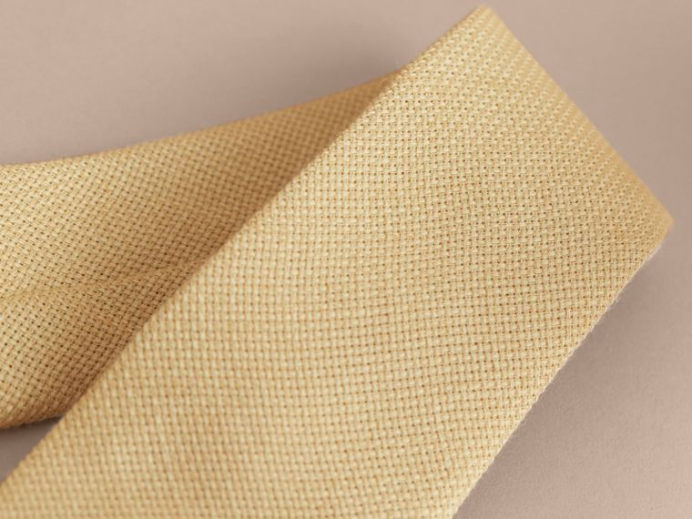 Modern Cut Linen Tie in Stone Yellow - Men | Burberry - cell image 1