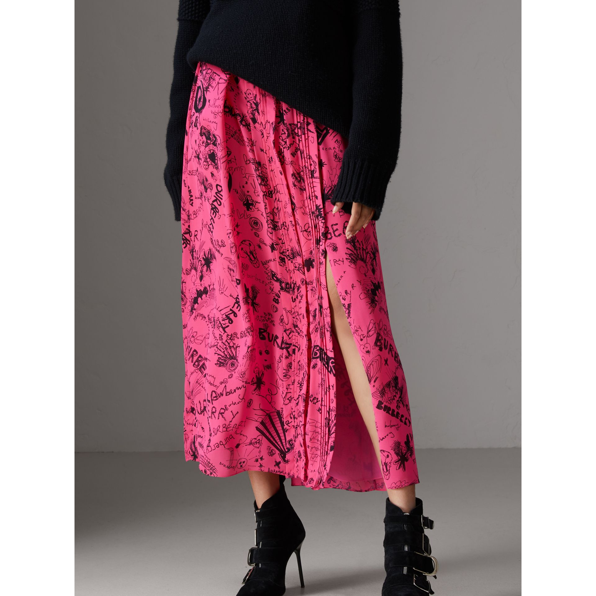 Doodle Print Pintuck Detail Silk Skirt in Fluro Pink - Women | Burberry - gallery image 4