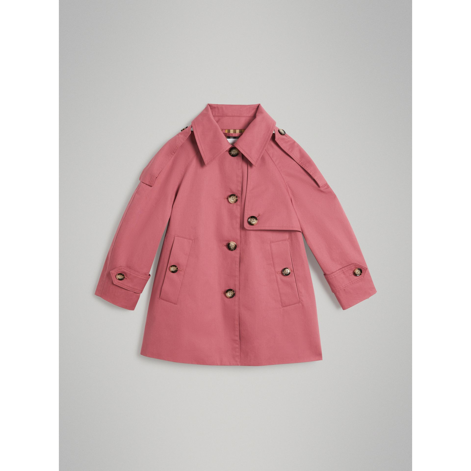 Showerproof Cotton Reconstructed Trench Coat in Rose Pink - Girl | Burberry Australia - gallery image 0