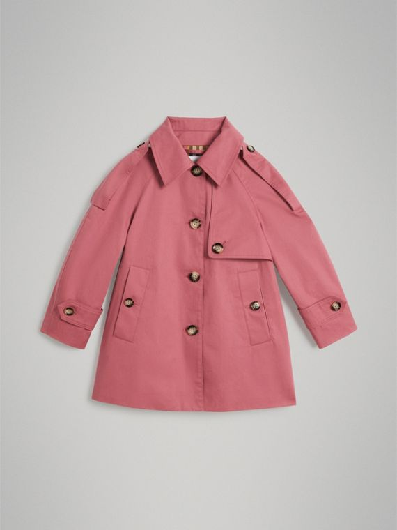 Trench coat replanteado en algodón impermeable (Rosa Real)