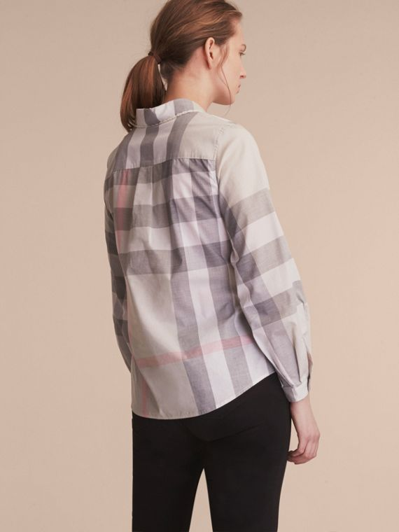 Ruffle Detail and Lace Trim Check Cotton Shirt Pale Taupe - cell image 2