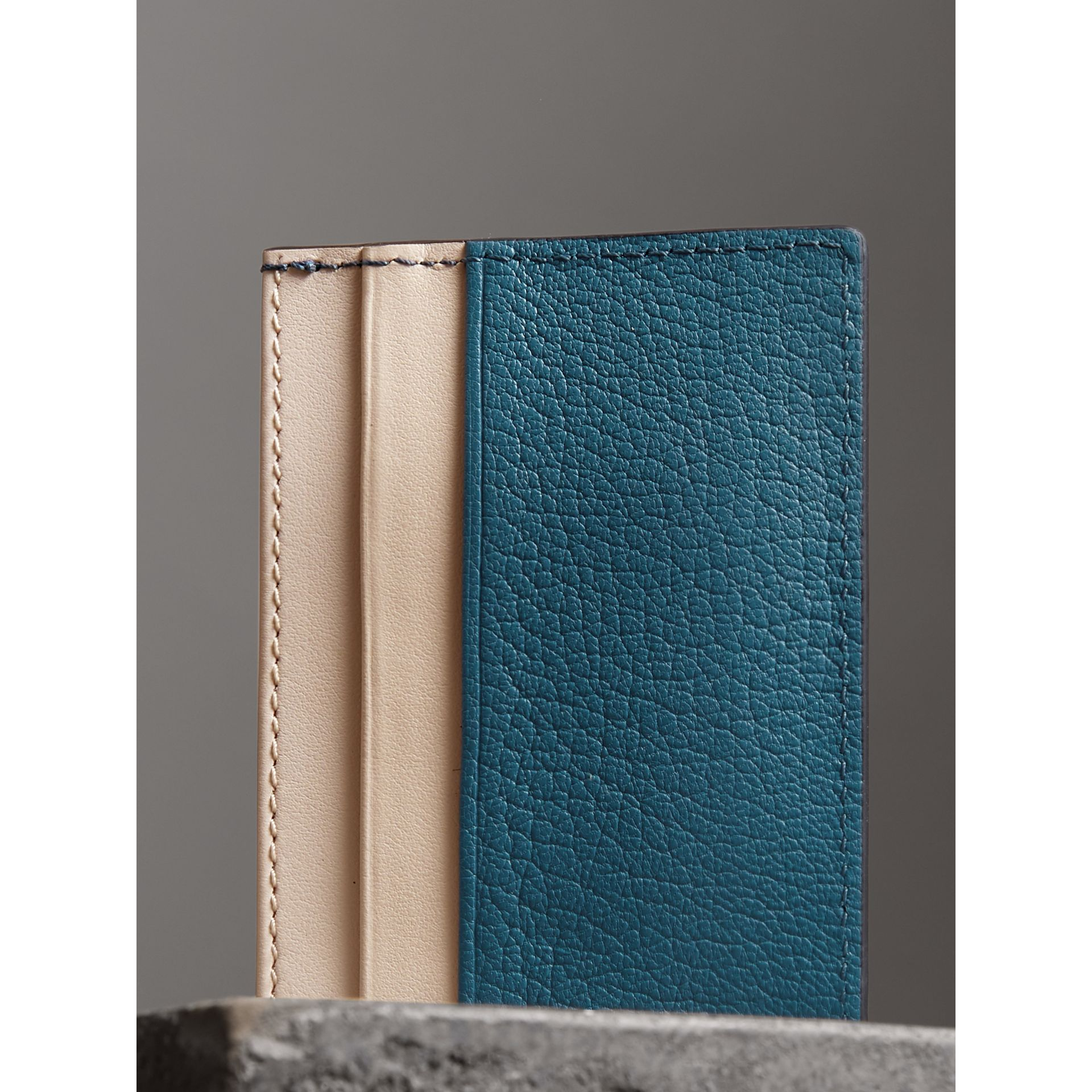Two-tone Leather Card Case in Peacock Blue | Burberry - gallery image 2