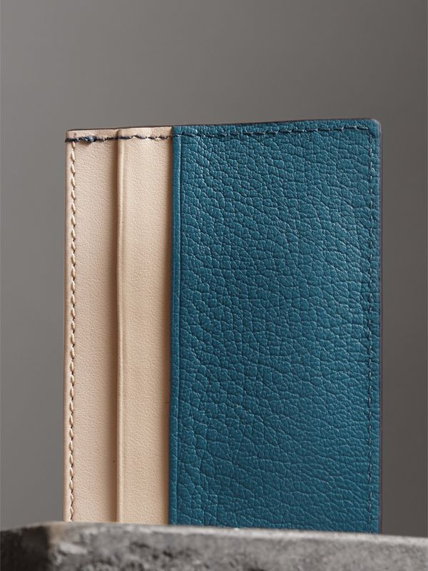 Two-tone Leather Card Case in Peacock Blue | Burberry - cell image 2