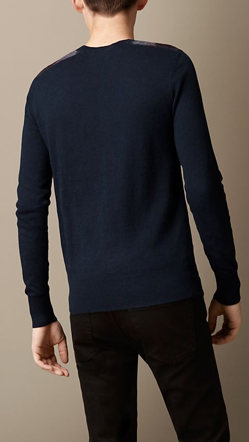Navy Check Detail Cotton Cashmere Sweater - Image 2