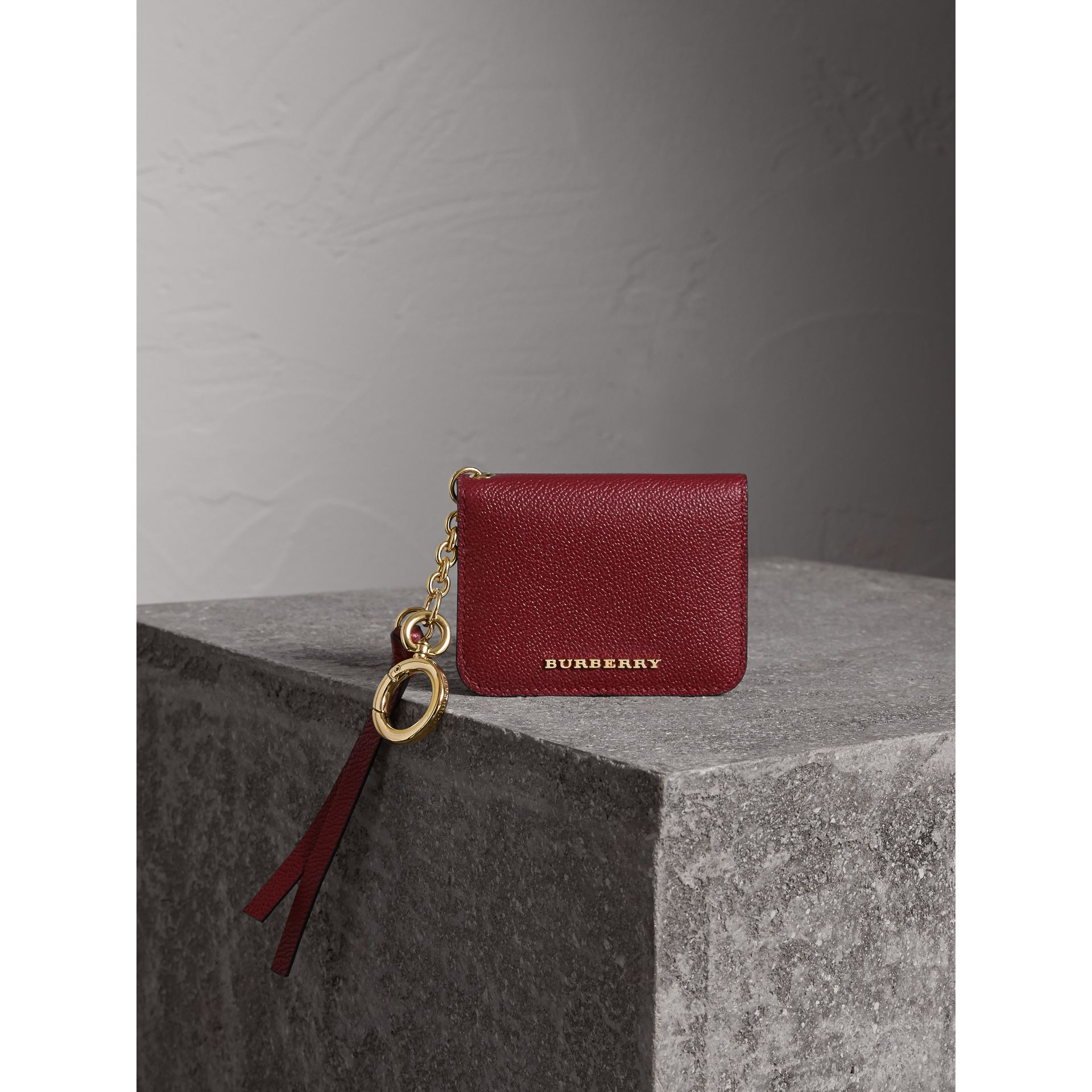 Leather and Haymarket Check ID Card Case Charm in Burgundy/multicolour - Women | Burberry Hong Kong - gallery image 2