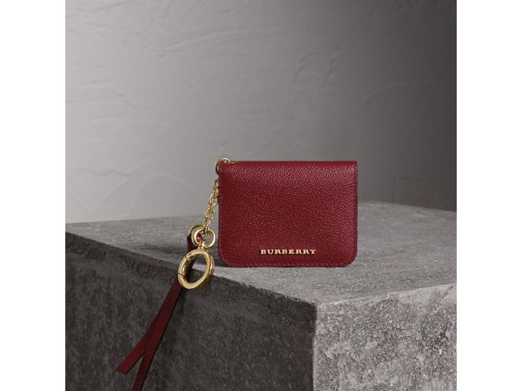 Leather and Haymarket Check ID Card Case Charm in Burgundy/multicolour - Women | Burberry - cell image 1