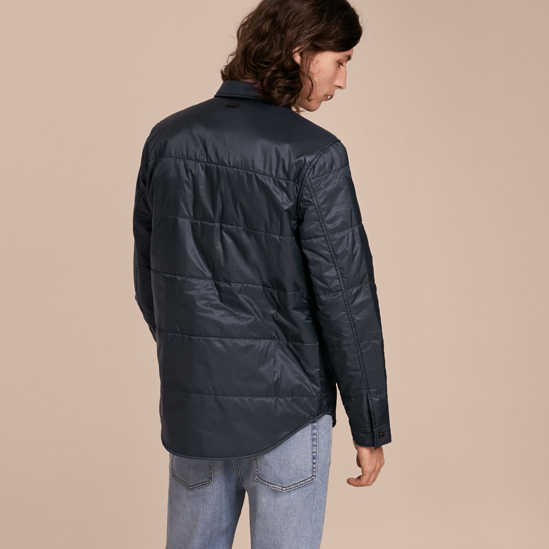 Navy Quilted Technical Shirt - gallery image 3