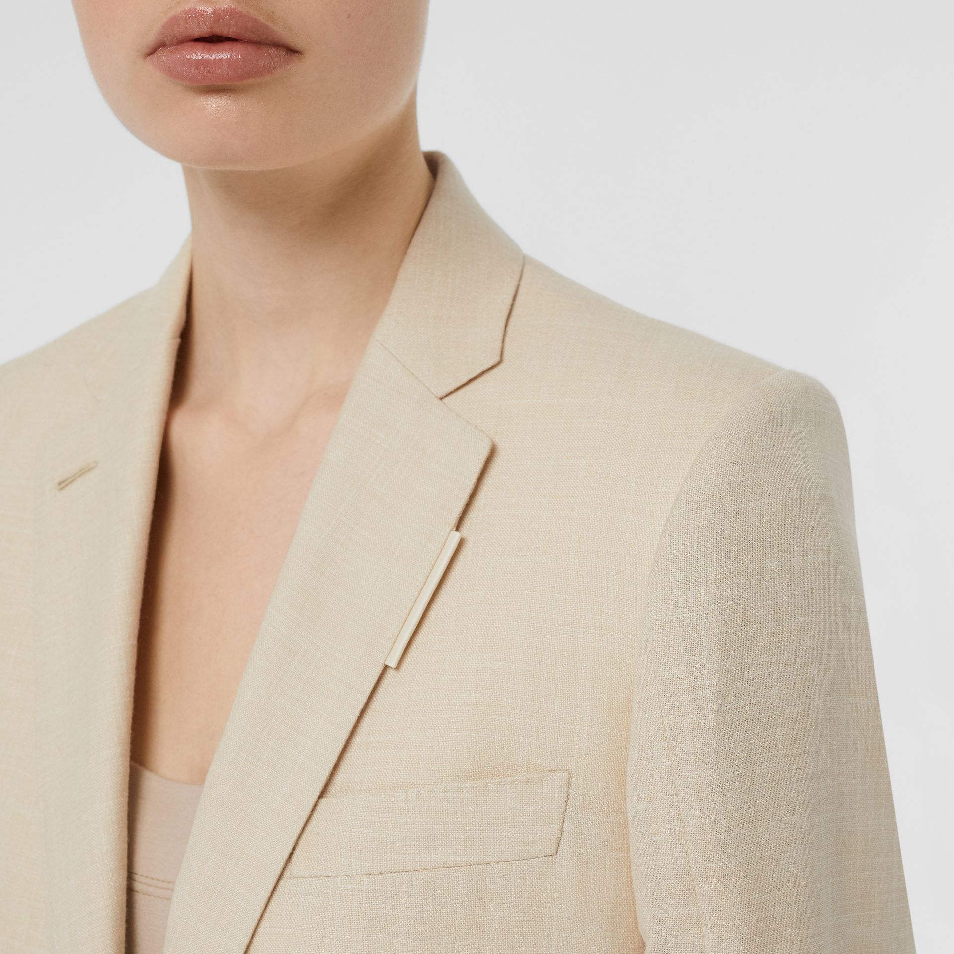 Pleated Panel Wool Silk Linen Tailored Jacket in Sesame - Women | Burberry - gallery image 7