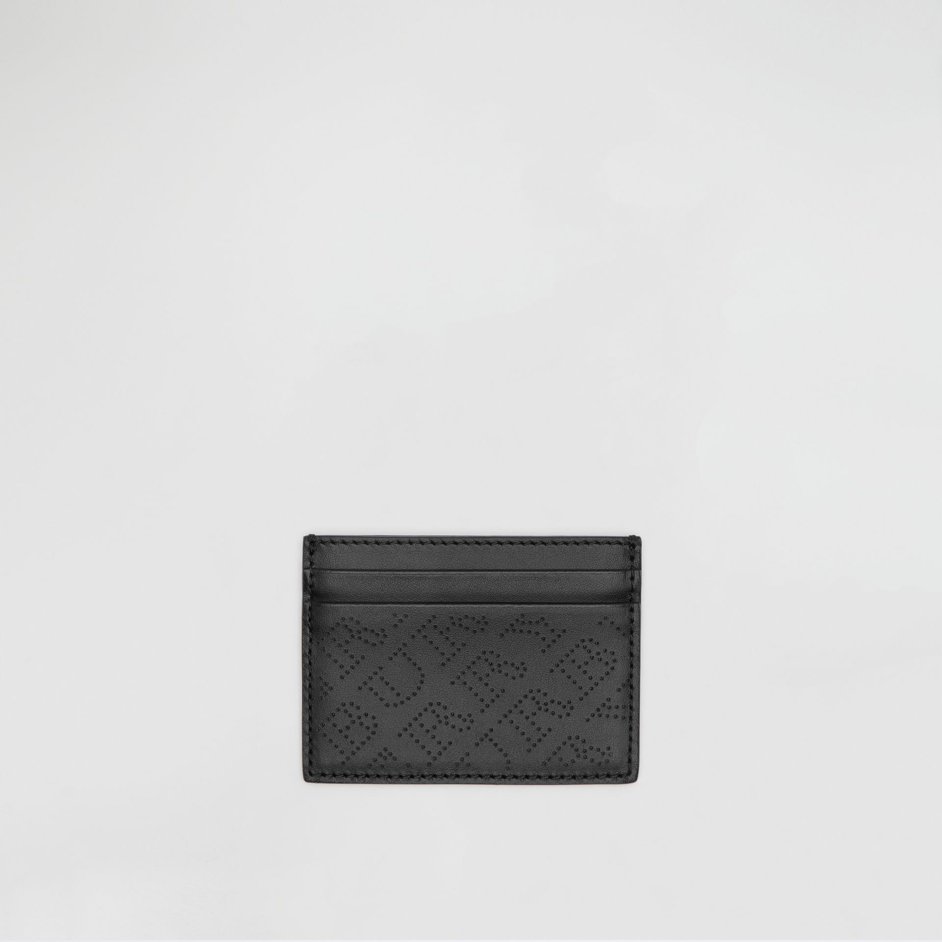Perforated Logo Leather Card Case in Black - Women | Burberry - gallery image 0
