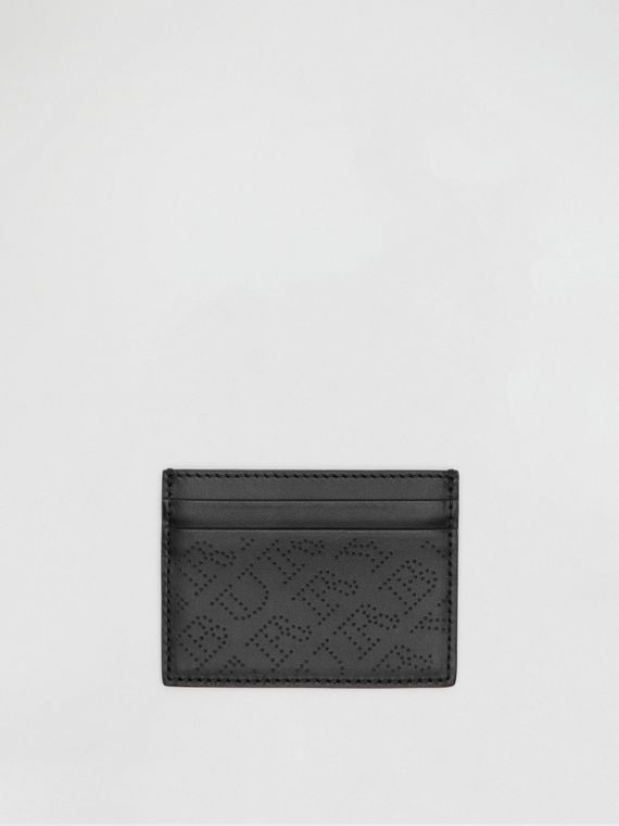 Perforated Logo Leather Card Case in Black