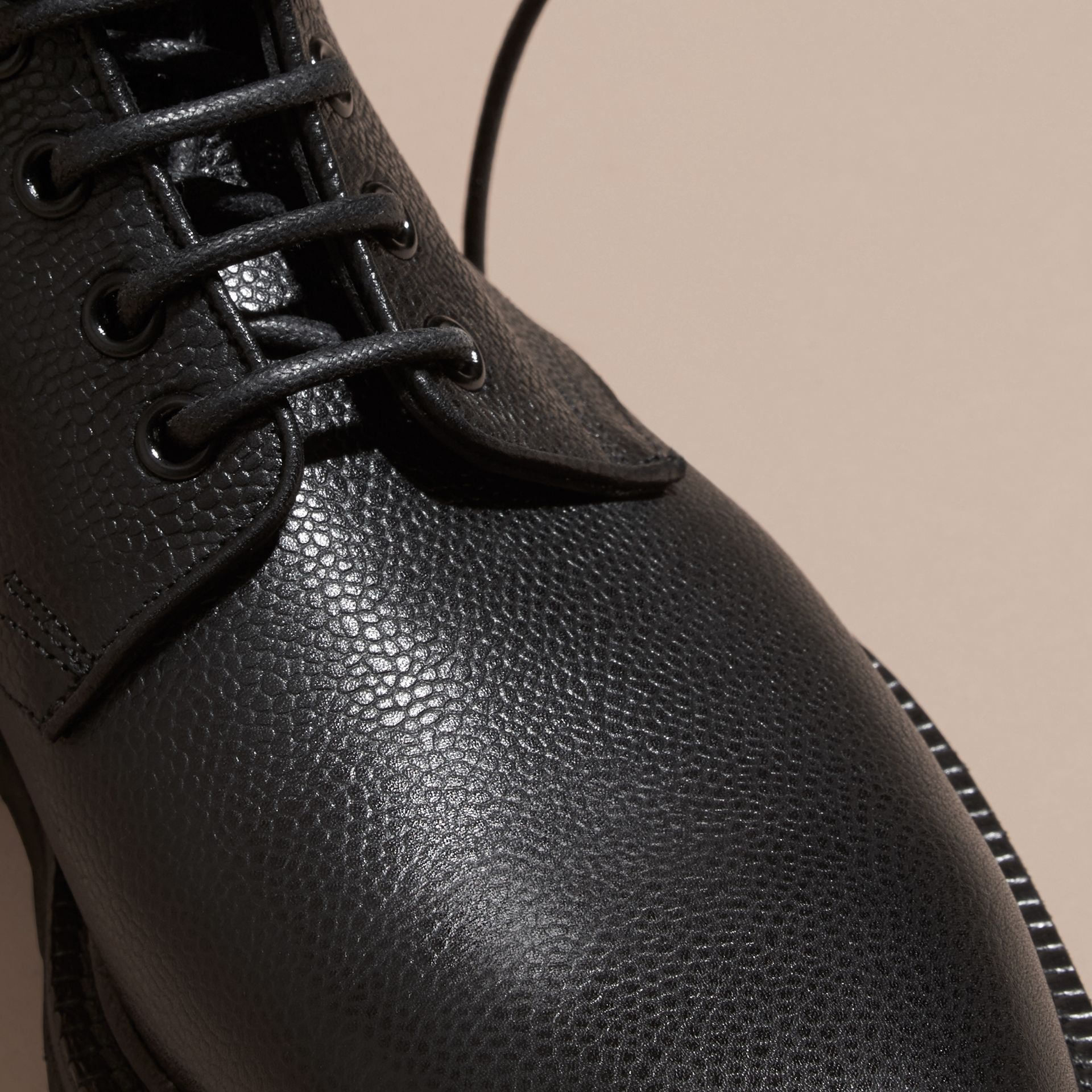 Black Lace-up Grainy Leather Boots Black - gallery image 2