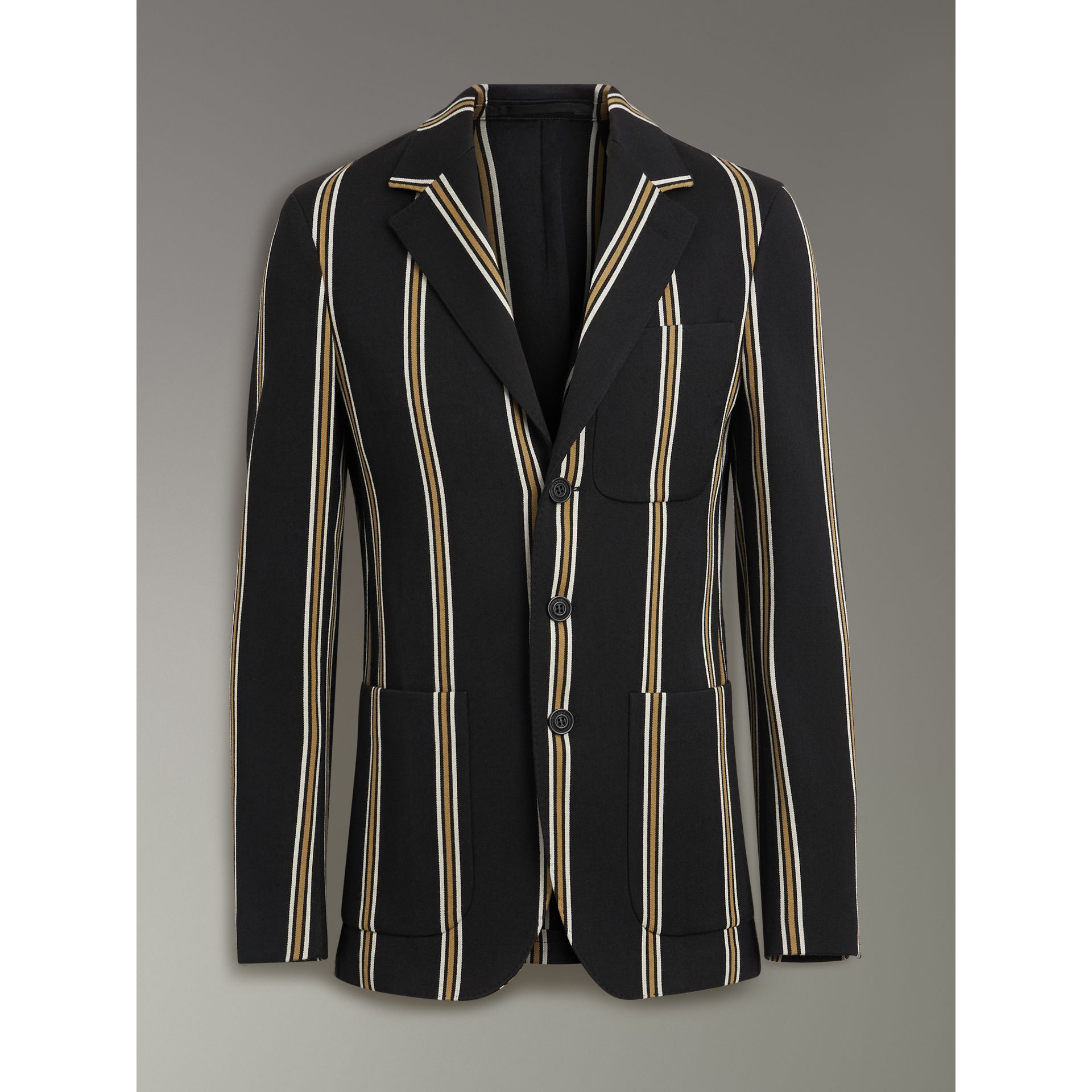Striped Wool Blend Club Blazer in Black - Men | Burberry - gallery image 3