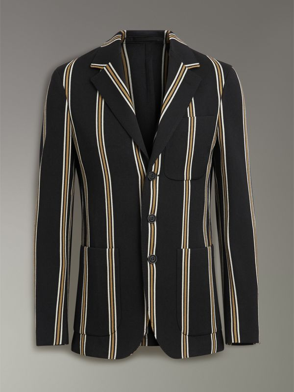 Slim fit Striped Wool Blend Club Blazer in Black - Men | Burberry - cell image 3