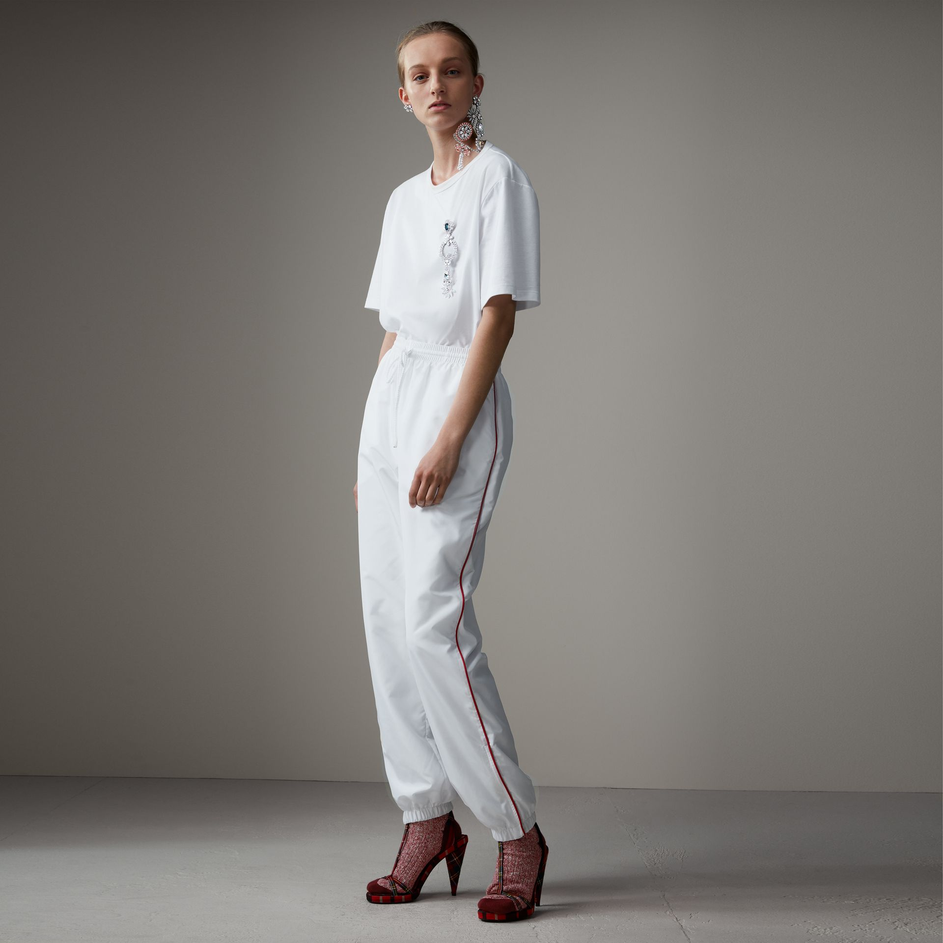 Contrast Piping Poplin Track Pants in White - Women | Burberry - gallery image 0