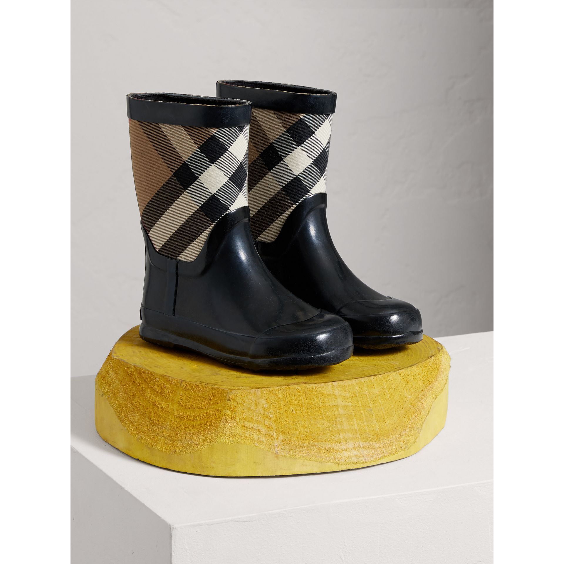 House Check Panel Rain Boots in Black | Burberry Australia - gallery image 0