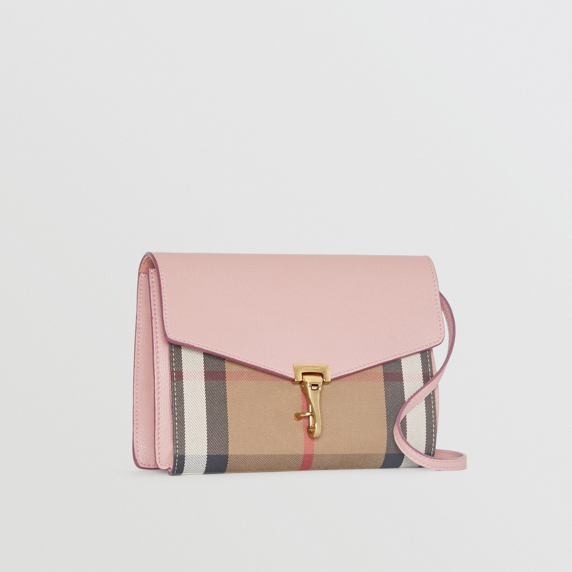 Small Leather and House Check Crossbody Bag in Pale Orchid - Women | Burberry Australia - gallery image 6