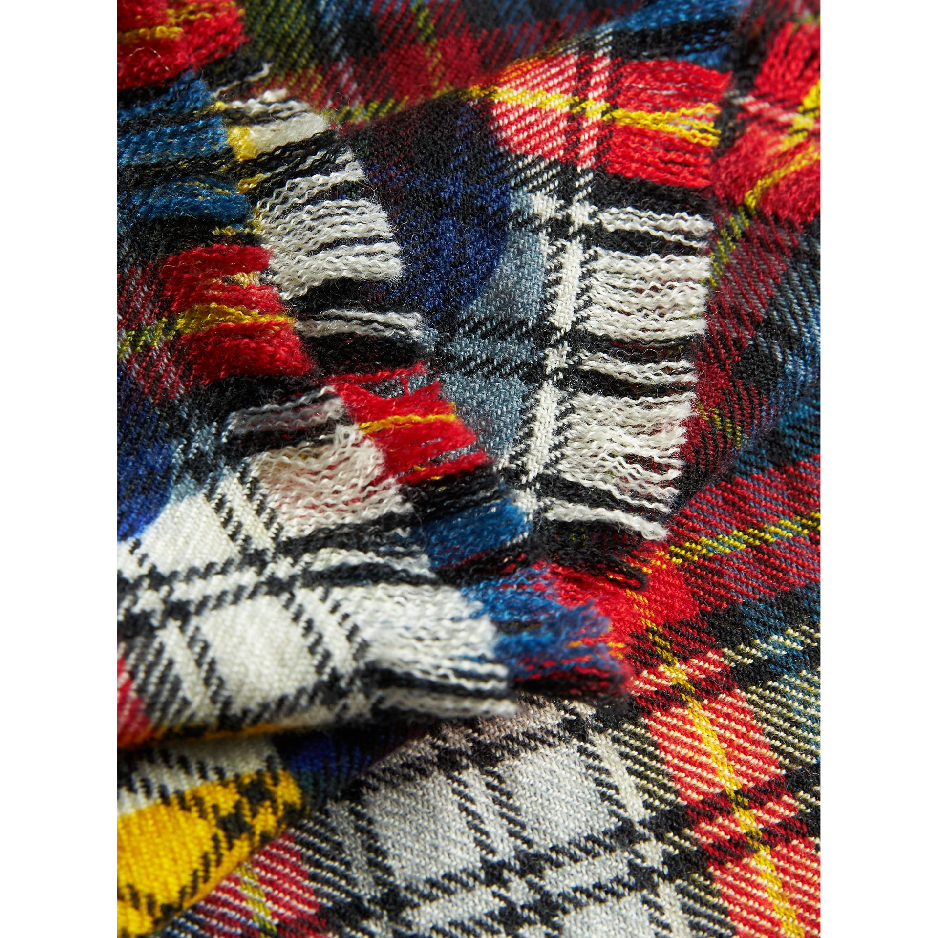Dot Print Tartan Wool Scarf in Bright Red | Burberry - gallery image 2