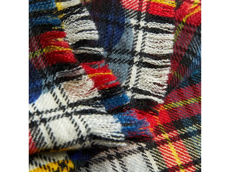 Dot Print Tartan Wool Scarf in Bright Red | Burberry - cell image 1