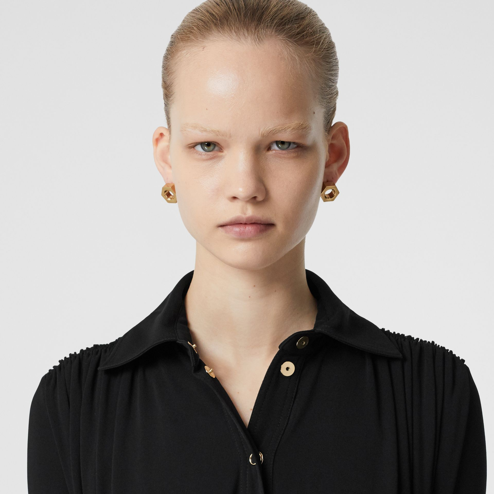 Short-sleeve Gathered Jersey Dress in Black - Women | Burberry United Kingdom - gallery image 1