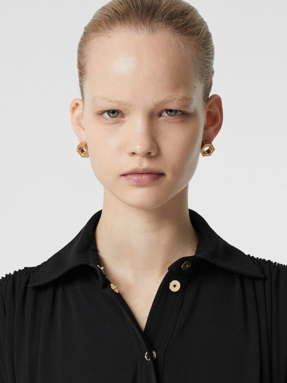 Short-sleeve Gathered Jersey Dress in Black - Women | Burberry United Kingdom - cell image 1