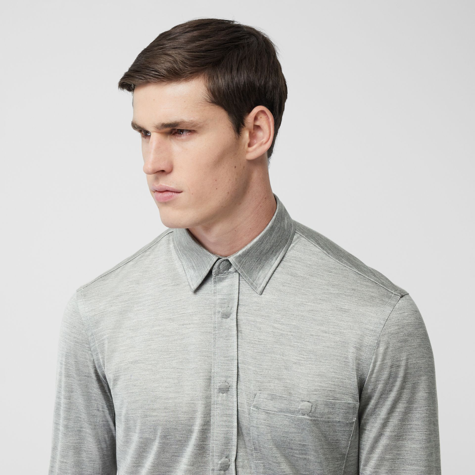 Classic Fit Silk Jersey Shirt in Light Pebble Grey | Burberry - gallery image 1