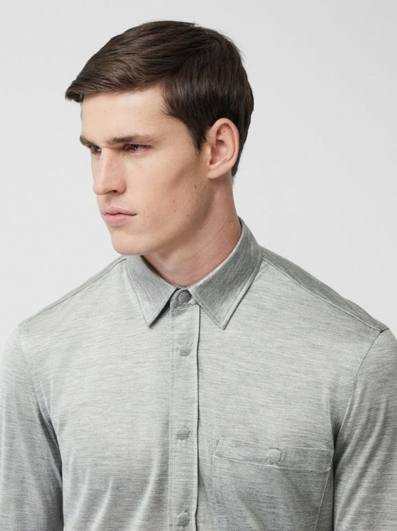 Classic Fit Silk Jersey Shirt in Light Pebble Grey | Burberry - cell image 1