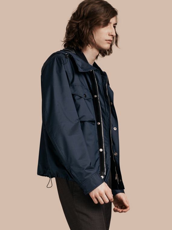 Hooded Technical Jacket with Lambskin Trim