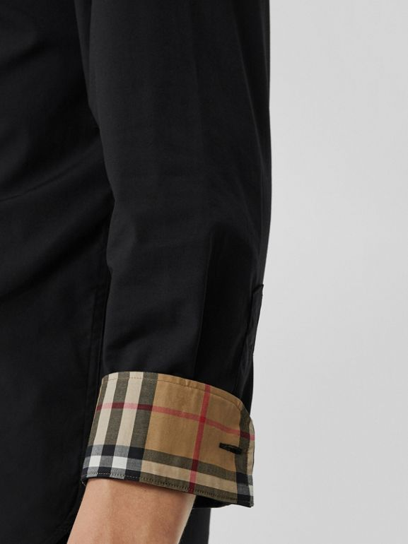 Check Cuff Stretch Cotton Poplin Shirt in Black - Men | Burberry - cell image 1