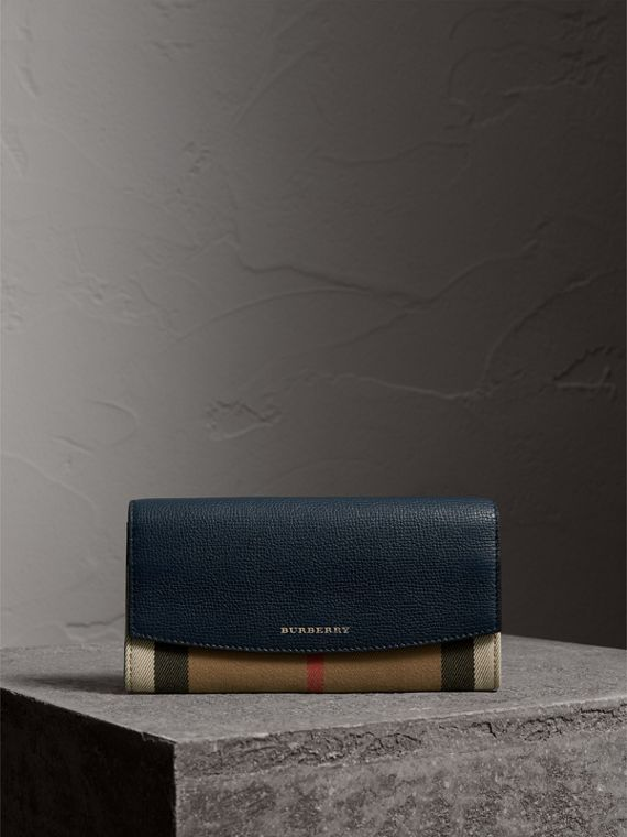 House Check And Leather Continental Wallet in Ink Blue - Women | Burberry - cell image 3