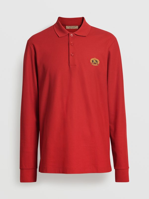 Long-sleeve Archive Logo Cotton Piqué Polo Shirt in Poppy Red - Men | Burberry - cell image 3