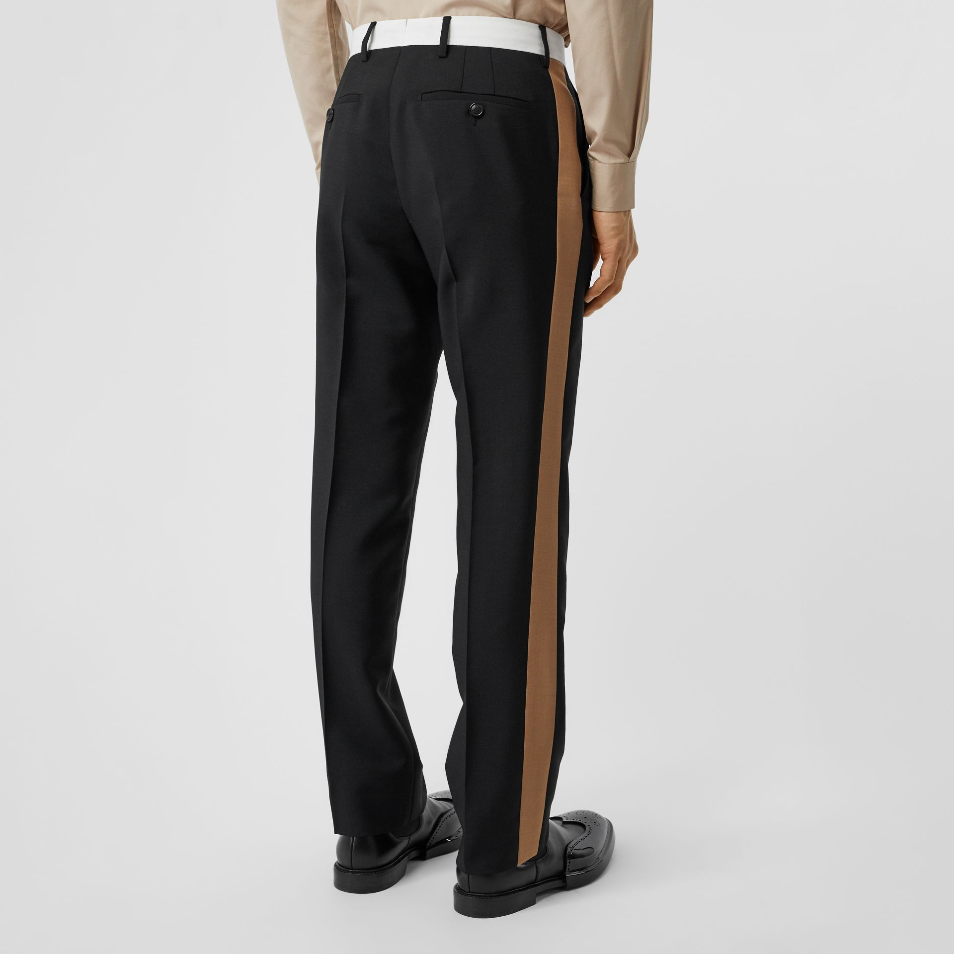 Tri-tone Mohair Wool Tailored Trousers in Black - Men | Burberry Australia - gallery image 1