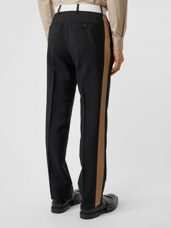 Tri-tone Mohair Wool Tailored Trousers in Black - Men | Burberry Australia - cell image 1