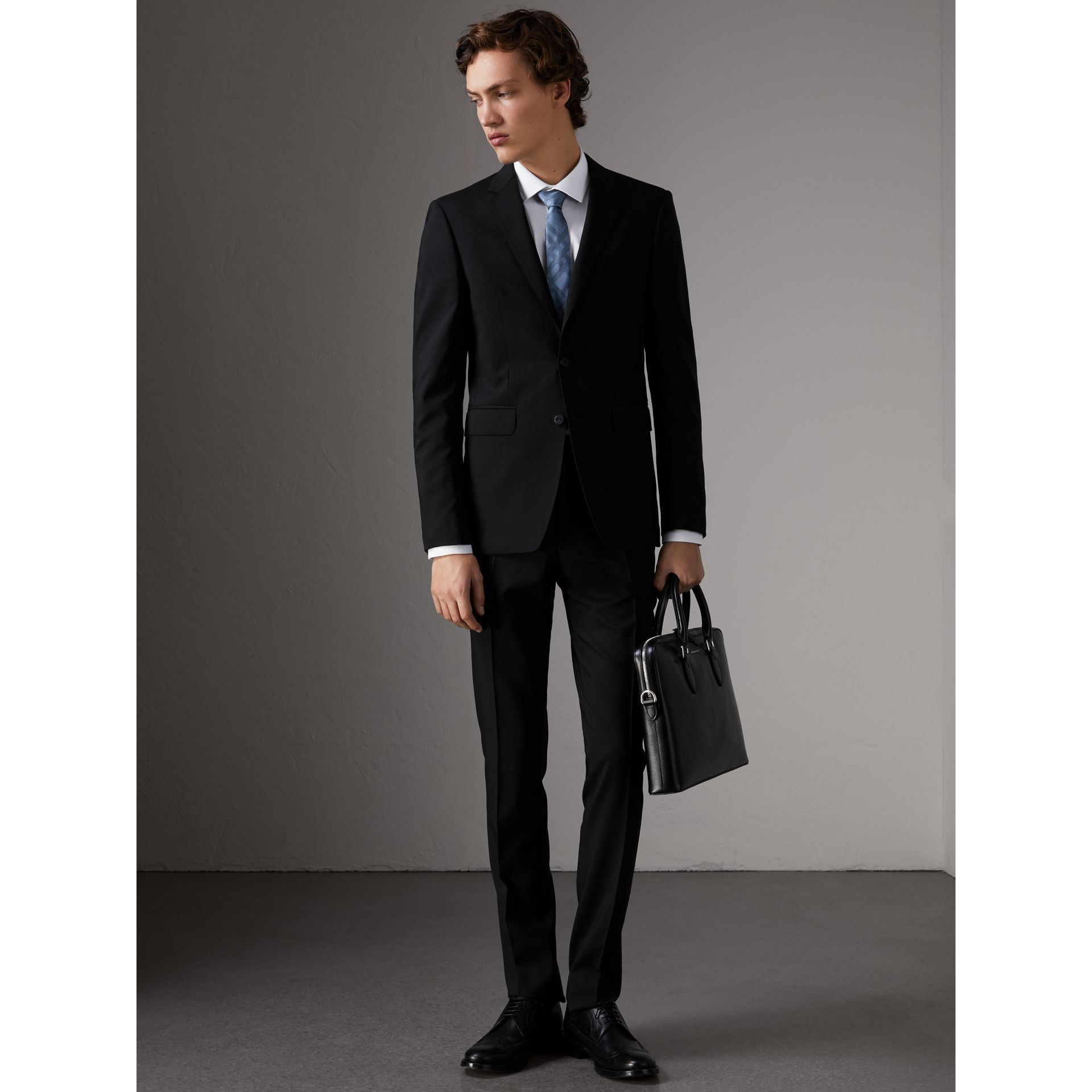 Slim Fit Wool Part-canvas Suit in Black - Men | Burberry - gallery image 0