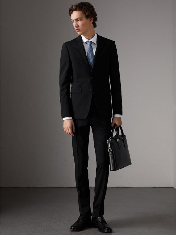 Slim Fit Wool Part-canvas Suit in Black