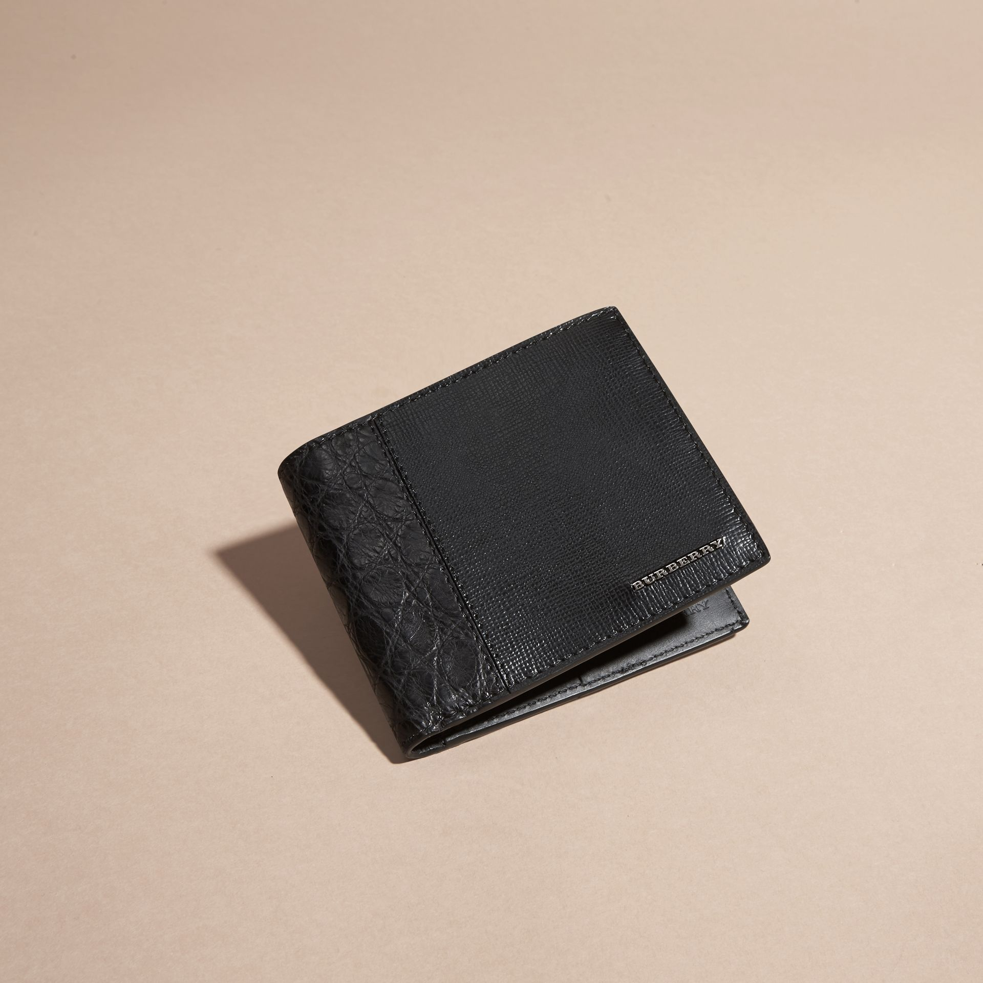 Black London Leather and Alligator Folding Wallet Black - gallery image 3