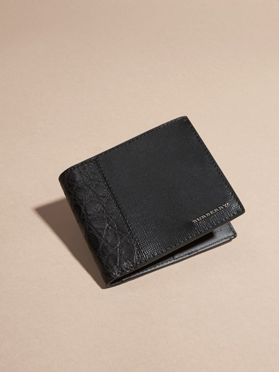 Leather and Alligator International Bifold Wallet in Black - Men | Burberry Australia - cell image 2