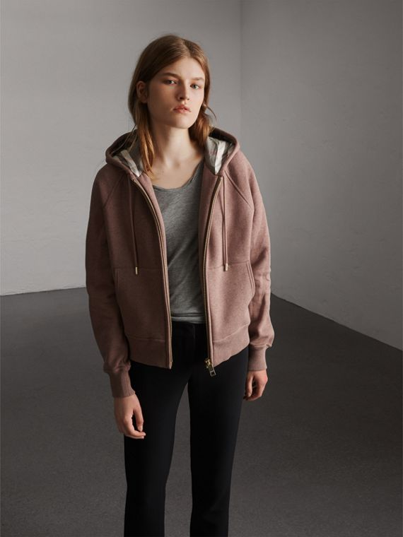 Hooded Cotton Blend Top in Antique Rose - Women | Burberry