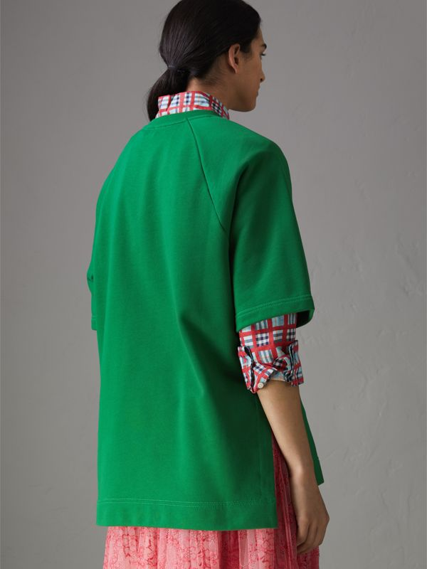 Fish and Chips Print Cotton Sweatshirt in Pigment Green - Women | Burberry Australia - cell image 2