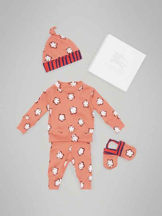Flower Print Cotton Four-piece Baby Gift Set in Dusty Pink