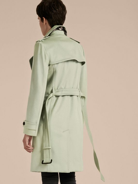 Pale eucalyptus Cashmere Wrap Trench Coat - cell image 2