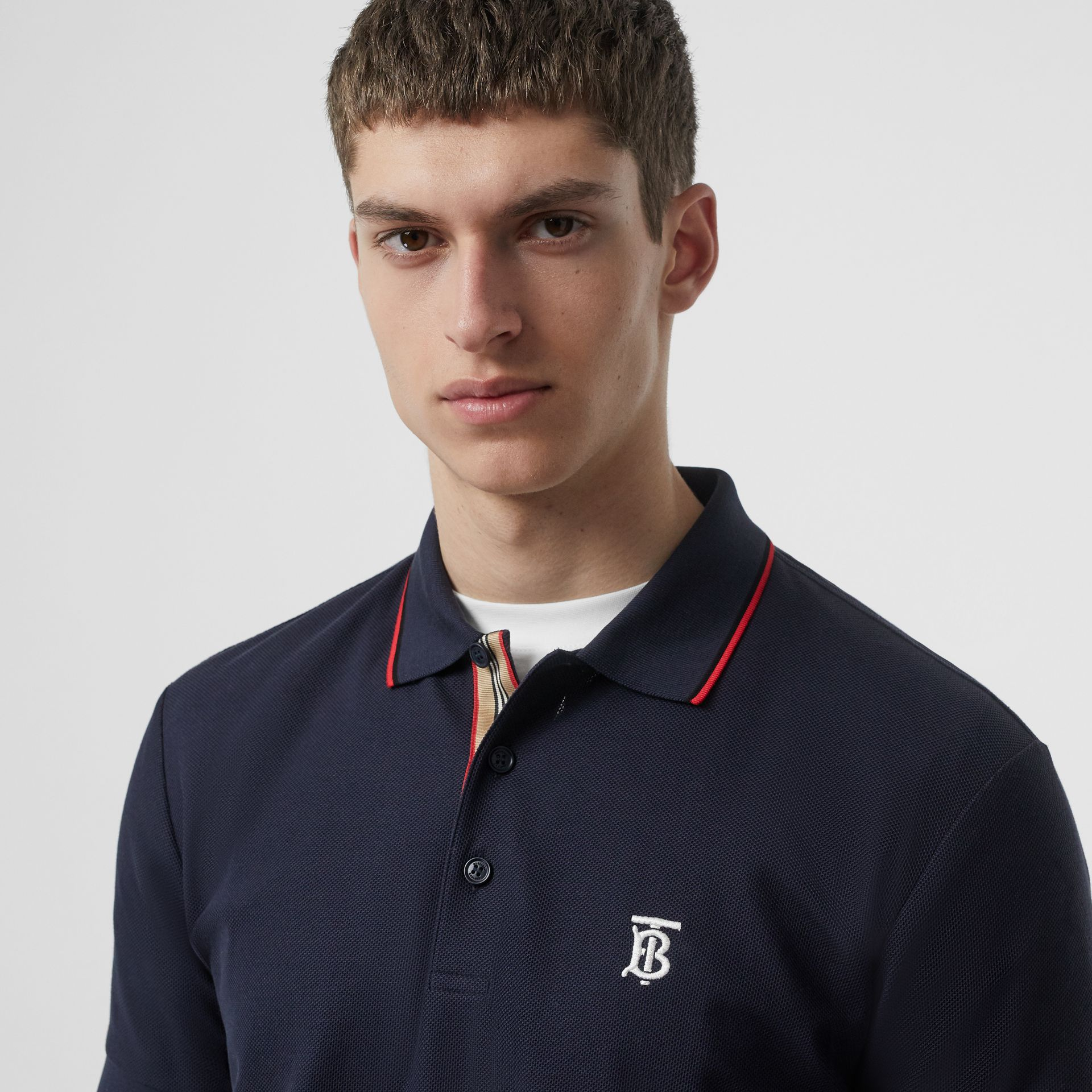 Icon Stripe Placket Cotton Piqué Polo Shirt in Navy - Men | Burberry Canada - gallery image 1