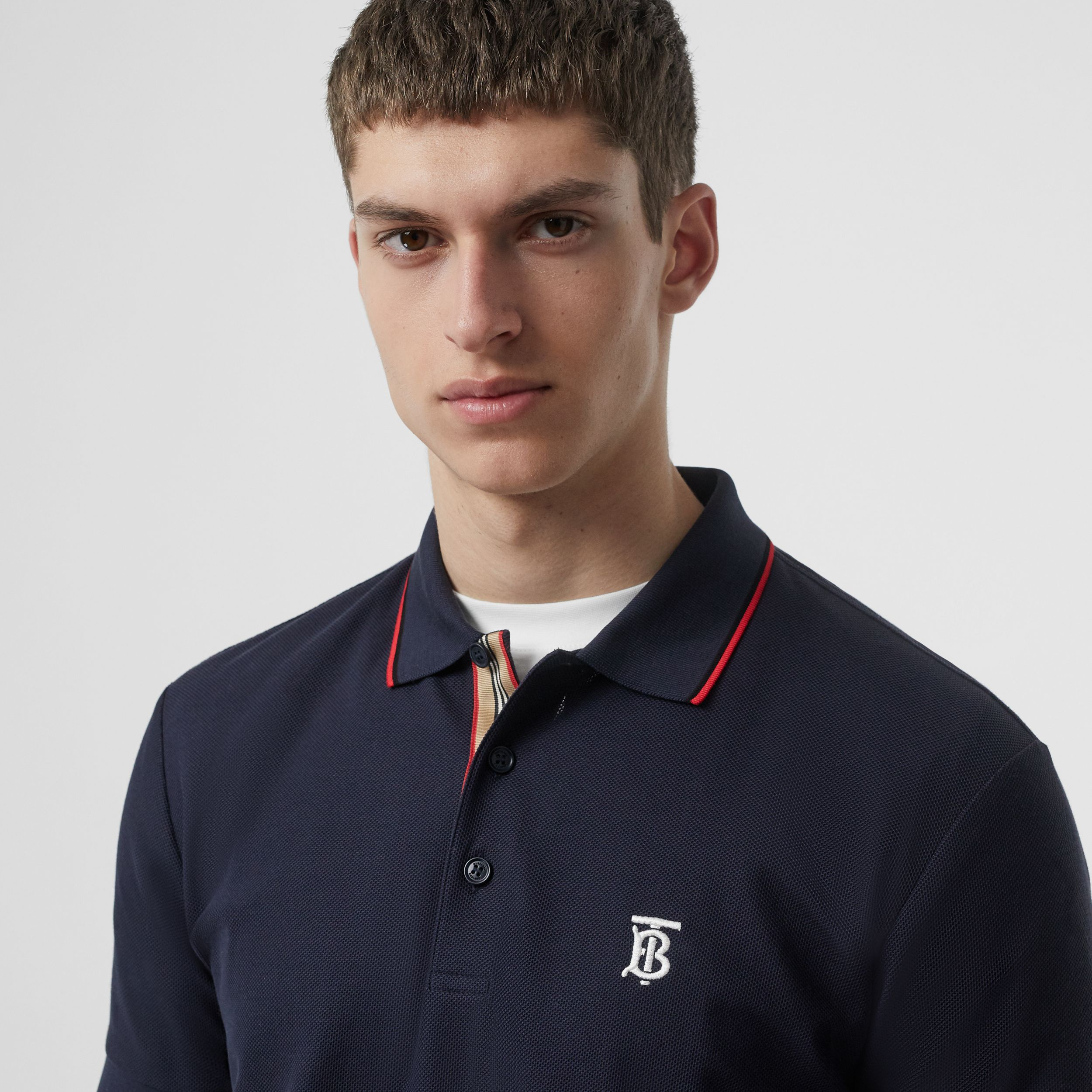 Icon Stripe Placket Cotton Piqué Polo Shirt in Navy - Men | Burberry - 2