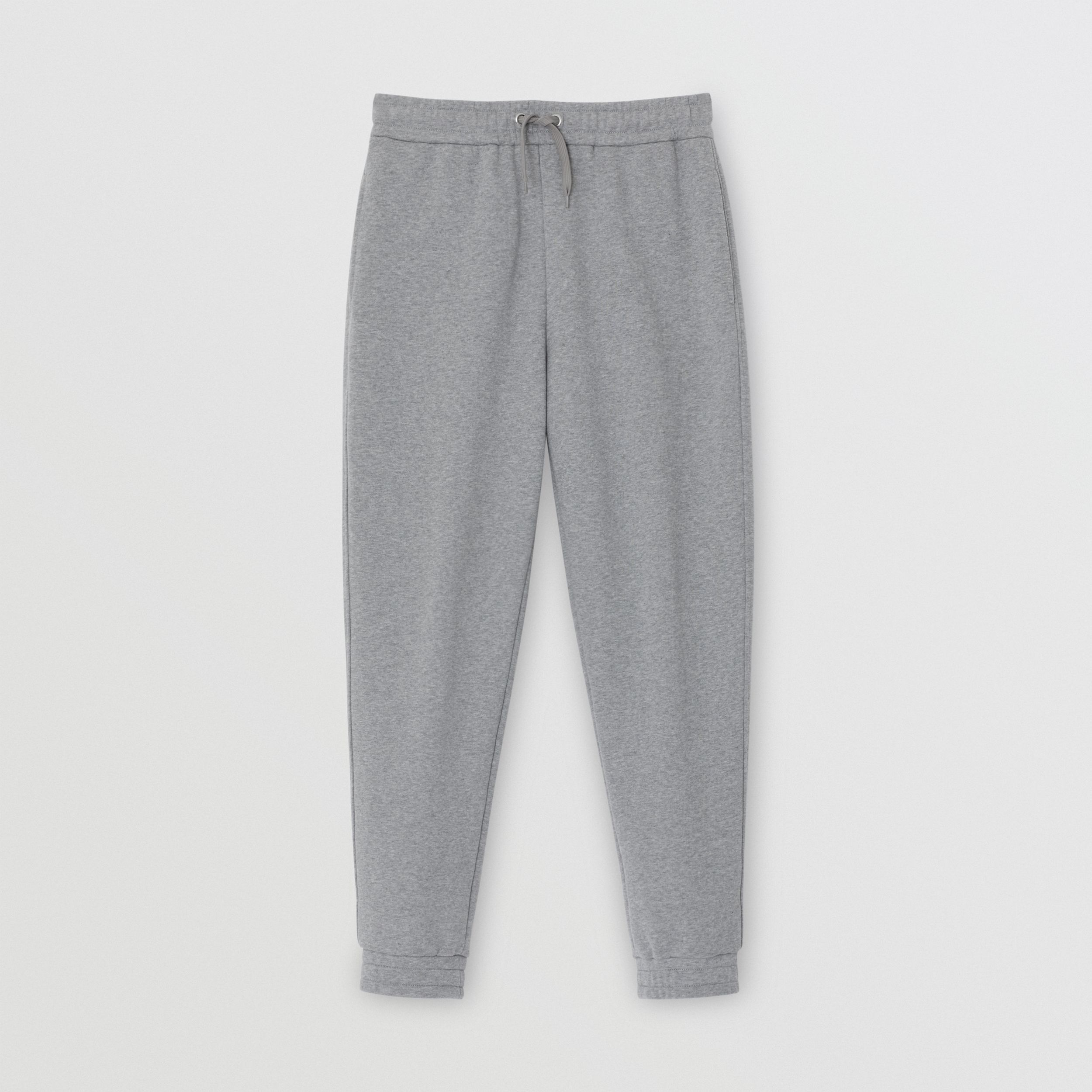Logo Print Cotton Trackpants in Pale Grey Melange - Men | Burberry - 4