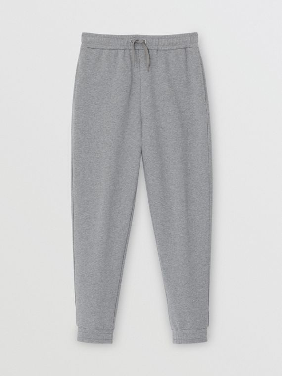 Logo Print Cotton Trackpants in Pale Grey Melange