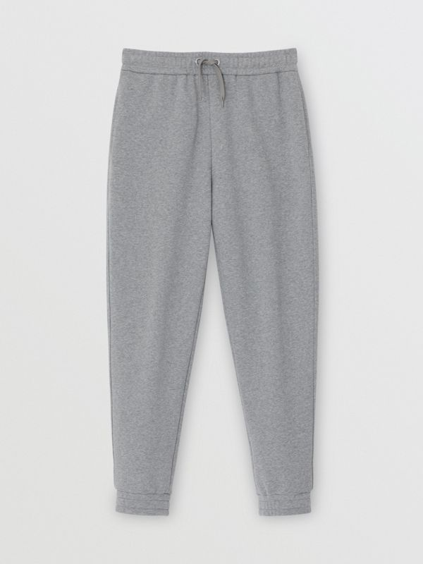 Logo Print Cotton Trackpants in Pale Grey Melange - Men | Burberry Singapore - cell image 3