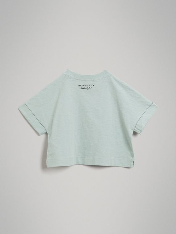 Smiley Face Print Cropped T-shirt in Pale Mint - Girl | Burberry - cell image 3