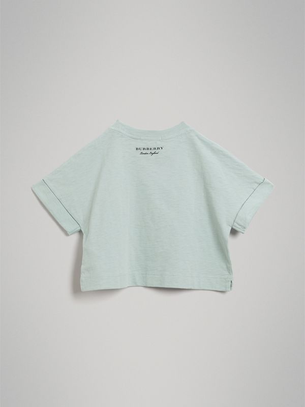Smiley Face Print Cropped T-shirt in Pale Mint - Girl | Burberry Canada - cell image 3